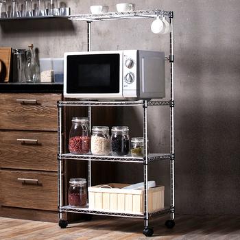 Home Usage Floor Standing Metal Chrome Microwave Oven Rack