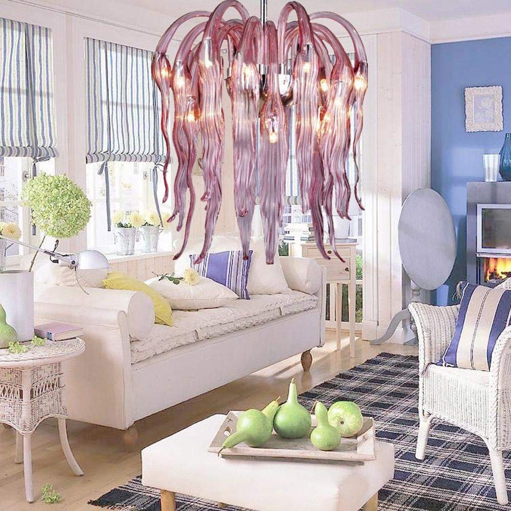 Wei-d European-Style Glass Chandeliers Willow Skirt Restaurant Art Hanging Line Lights Purple Flame Shape Chandeliers , A
