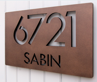 Laser cut corten steel metal panel board with house number
