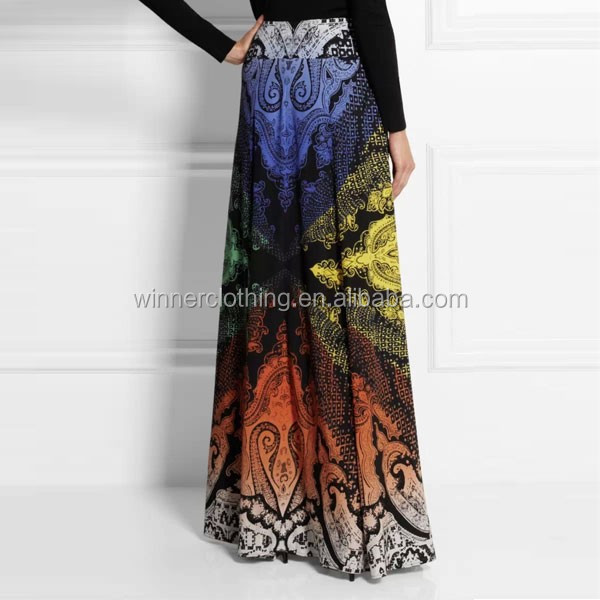 High quality printed ladies long silk skirt