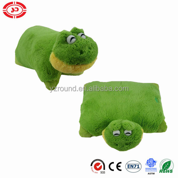 Green frog plastic eyes cute soft plush pillow well stuffed cushion 2in1