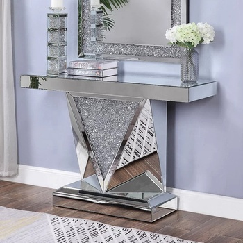 Modern mirrored console table crushed diamond furniture crystal console  table decor, View console table luxury mirrored glass, GUANDING Product