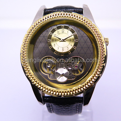 Unique design alloy quartz watch with special 2module design & visable mineral glass caseback