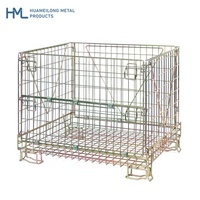 High quality foldable stackable welded storage collapsible wine industry wire mesh galvanized steel crate