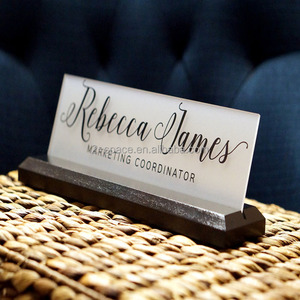 Plexiglass Acrylic Office Teacher Mandager Desk Name Plate with Wood Plaque