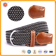 Fashion Unisex Multicolor Woven Elastic Braided Belts with Genuine Leather Ending for Promotion