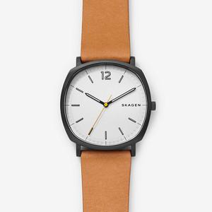 Custom Logo Small Seconds Mens PU Leather Watch Square Dial Quartz Watch