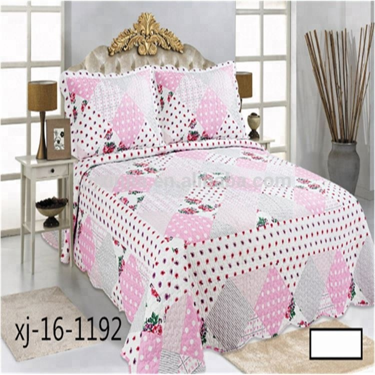 100% Cotton coverlet embroidery design quilt bedspread
