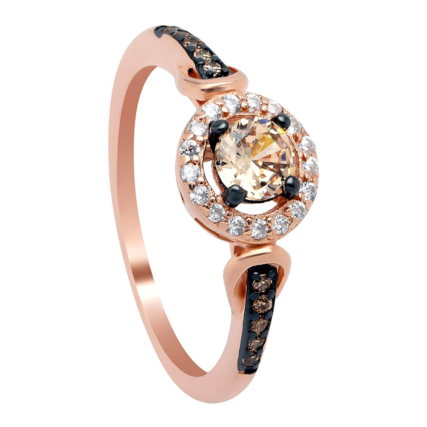 Tanisha Beautiful Chocolate and Champagne Briadal Ring Rose Gold over 925 Sterling Silver - Ginger Lyne Collection
