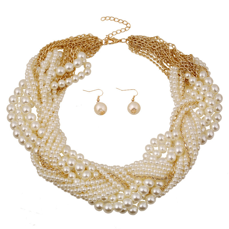 Latest design popular bridal jewelry set wholesale exaggerated layers of pearl woven necklace and earrings for wedding