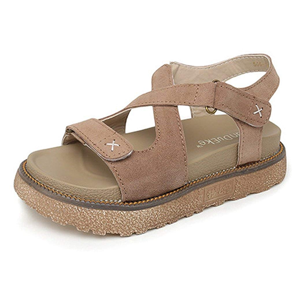 1b2ea59e7a8d2 Get Quotations · Zarbrina Womens Flat Platform Sandals Casual Rome  Fisherman Summer Open Toe Buckle Thick Bottom Shoes