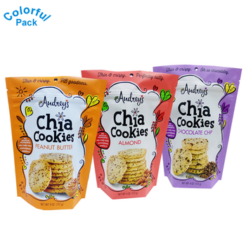 Customized Food Grade Stand Up Bags Foil Zipper Pouch Potato Chips Snack Packaging Bag For Cookie