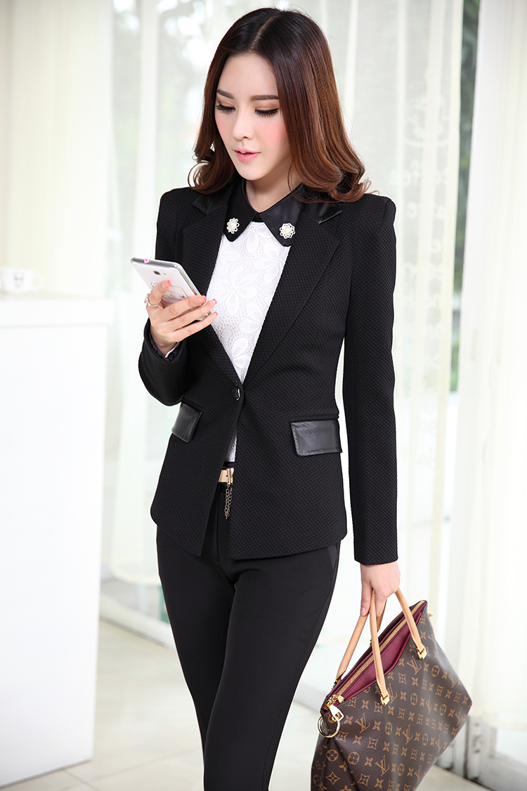 a9937e903c56 Get Quotations · Formal Pantsuits Women Business Suits with Pant and Jackets  Sets White Blazer Feminino Ladies Office Uniform