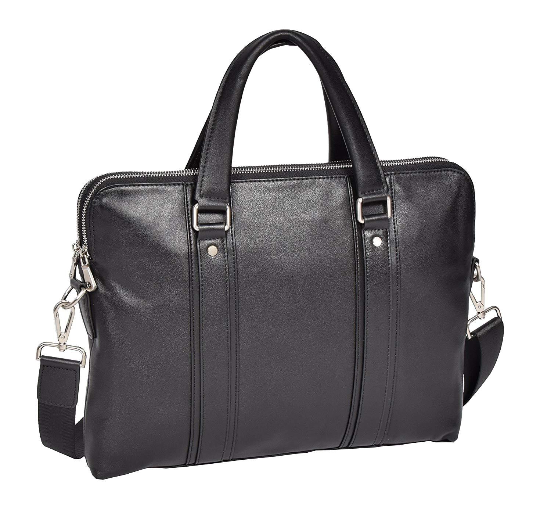 a2087261d5714 Get Quotations · Womens Slimline Black Leather Briefcase A4 Office Satchel  Shoulder Bag - Joni