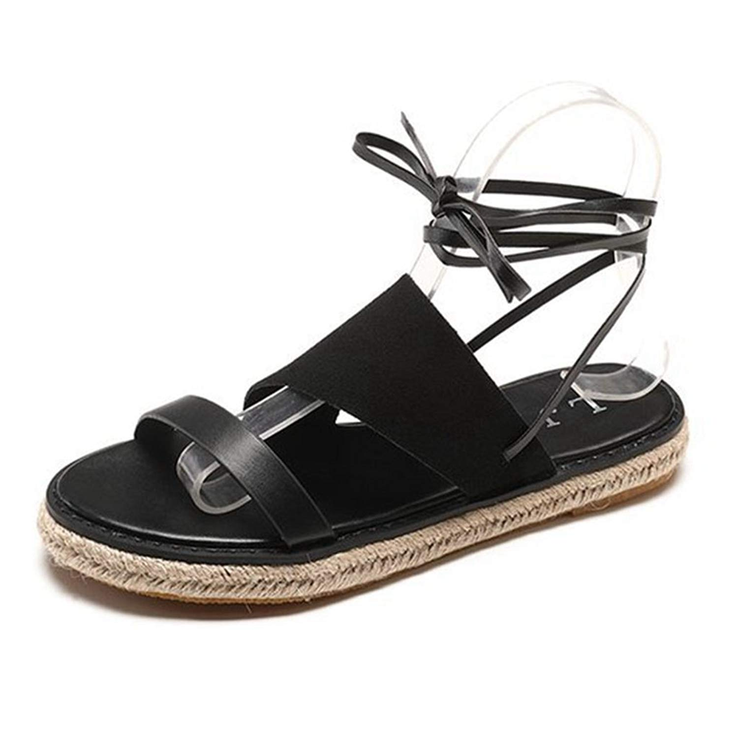 GIY Womens Platform Sandal Summer Open Toe Lace up Thick Bottom Outdoor Walking Ladies Flat Sandals