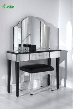 Simple Bedroom Dressing Table simple design silver bedroom glass mirror furniture dressing table