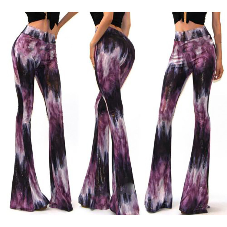 colored drawing printed women long leisure slender horn wide leg pants OSGL-1827