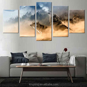 Home Goods Wall Art Painting 5 Panel Triptych Pictures the Wolf Animal Giclee Prints Dropshipping