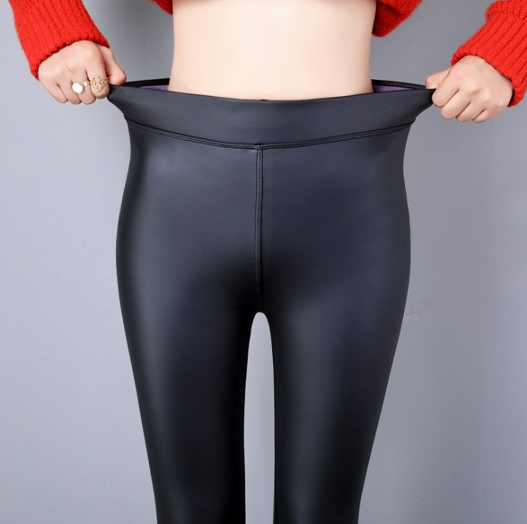 Ladies Black Faux Leather Leggings Slim Stretch Footless Pants Trousers Tights
