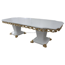 Luxury white long hand carved walnut dining table XYN687