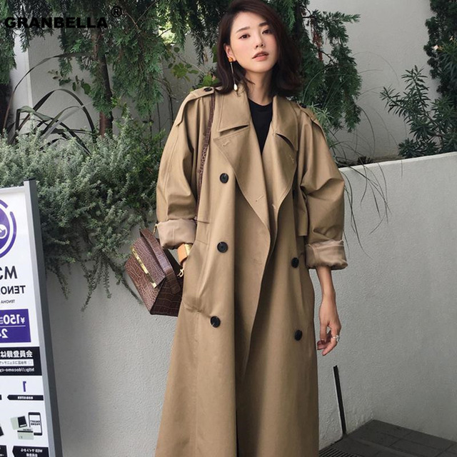 Double-breasted Women Long trench coats Classic Raincoat ladies korean overcoat Wholesale