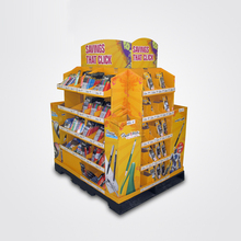 Piling Up Dump Bins For Pen Book Cardboard Retail Display Stand