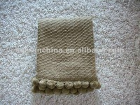 50CC53 brown twill acrylic woven shawl,throw,blanket with pom pon balls