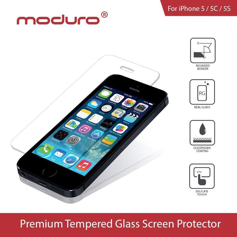iPhone 5 / 5C / 5S / SE Tempered Glass Screen Protector, Moduro Premium Ultra Thin 0.3mm Ballistic Tempered Glass Screen Protector (iPhone 5/5C/5S/SE)