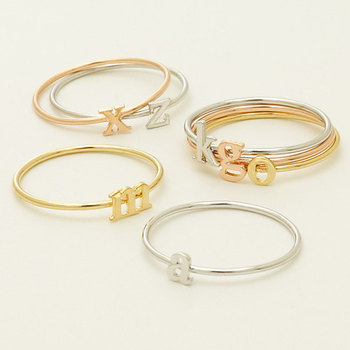 Stackable Initial Rings Holdsilverrose Gold Plated Alphabet Rings