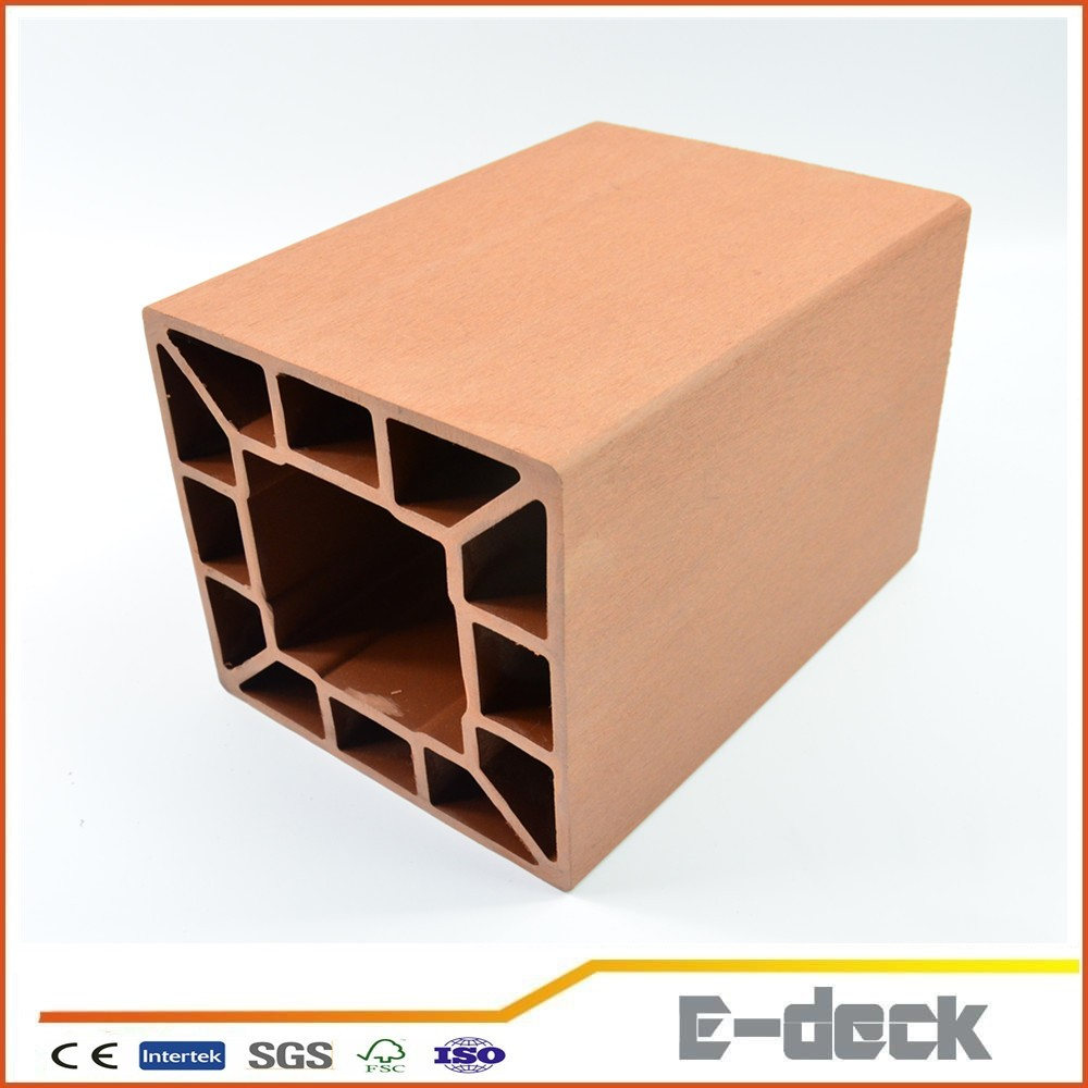 wood plastic composite PE material hollow square post for wpc handrail