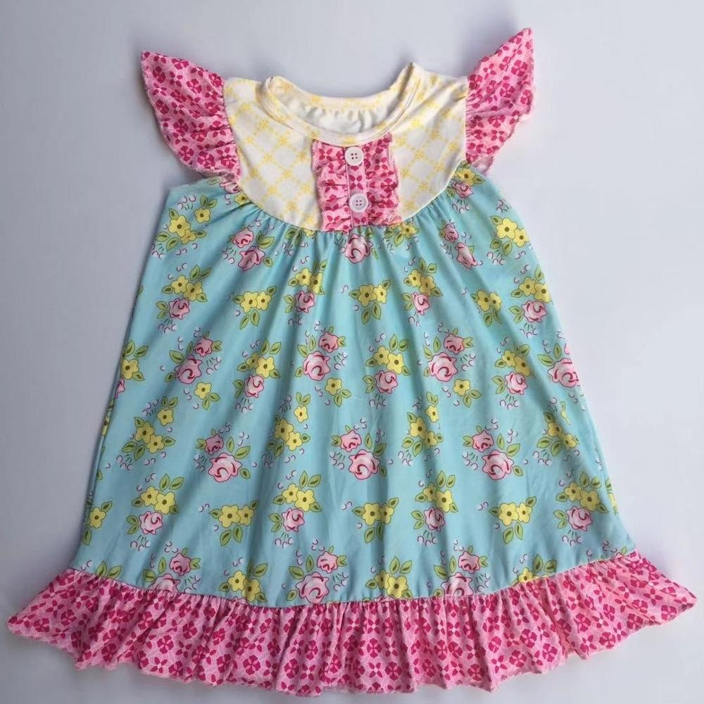 2019 Hot sale little girls cartoon character dress boutique infant lovely princess new year spring cartoon smocked  dress