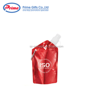 Customized Refillable Foldable Water Bag Collapsible Sports Bottle with Nozzle