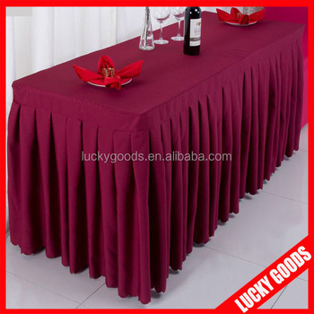 2015 Good Quality Wine Red Polyester Cloth Table Skirt Wholesale