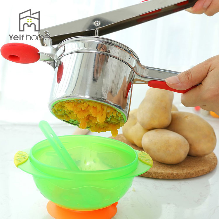 Food Press Silicone Handle Stainless Steel Potato Ricer With 3 Ricing Discs