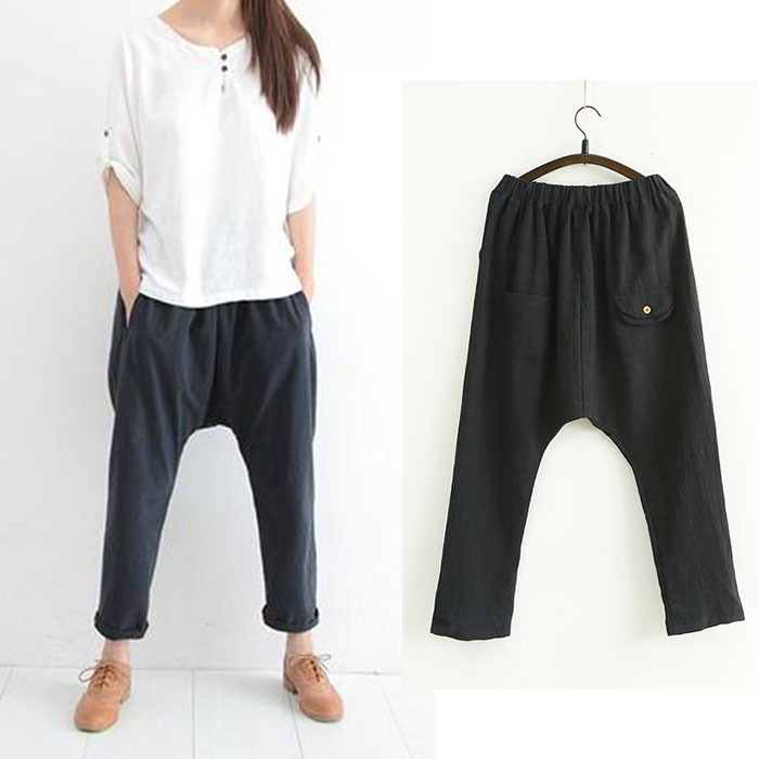 9563d5ae18f Get Quotations · 2015 Cotton Harem Pants Women Loose Style Quality Vintage Trousers  Casual Art Female Linen Pants