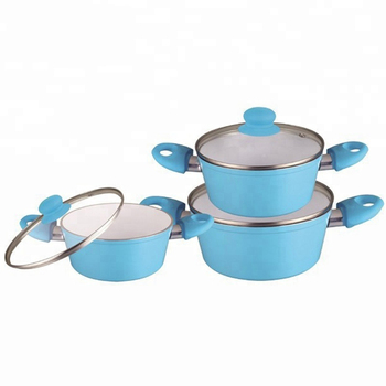 Aluminium Forged cooking pot set ceramic casserole set with lid