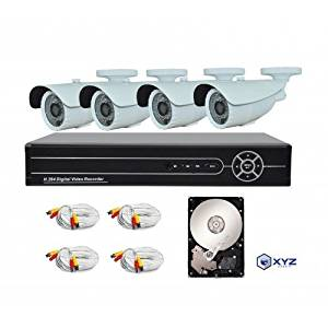 XYZ 4 Channel 1080P AHD Digital Video Recorder and 4 Professional 1080P Weatherproof Cameras with pre-installed 1TB HDD
