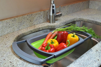 Collapsible Over The Sink Silicone Colander / Strainer (Over Sink)