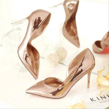 09ca896797040 Amazon Sells Women's High Heels,Champagne Bright-coloured Heels - Buy Shoes  Woman High Heel,High Heels Removable Heel,High Heels 2018 Product on ...