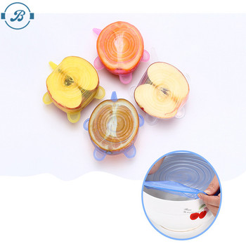 Multi 6 pack Silicone Stretch Lids Food Cover Suction Lids Silicone Flexible Stretch Lids