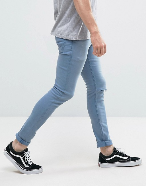 KY 2017 men new arrival fashion zip fly single knee ripped light blue wash quality cotton twill skinny jeans