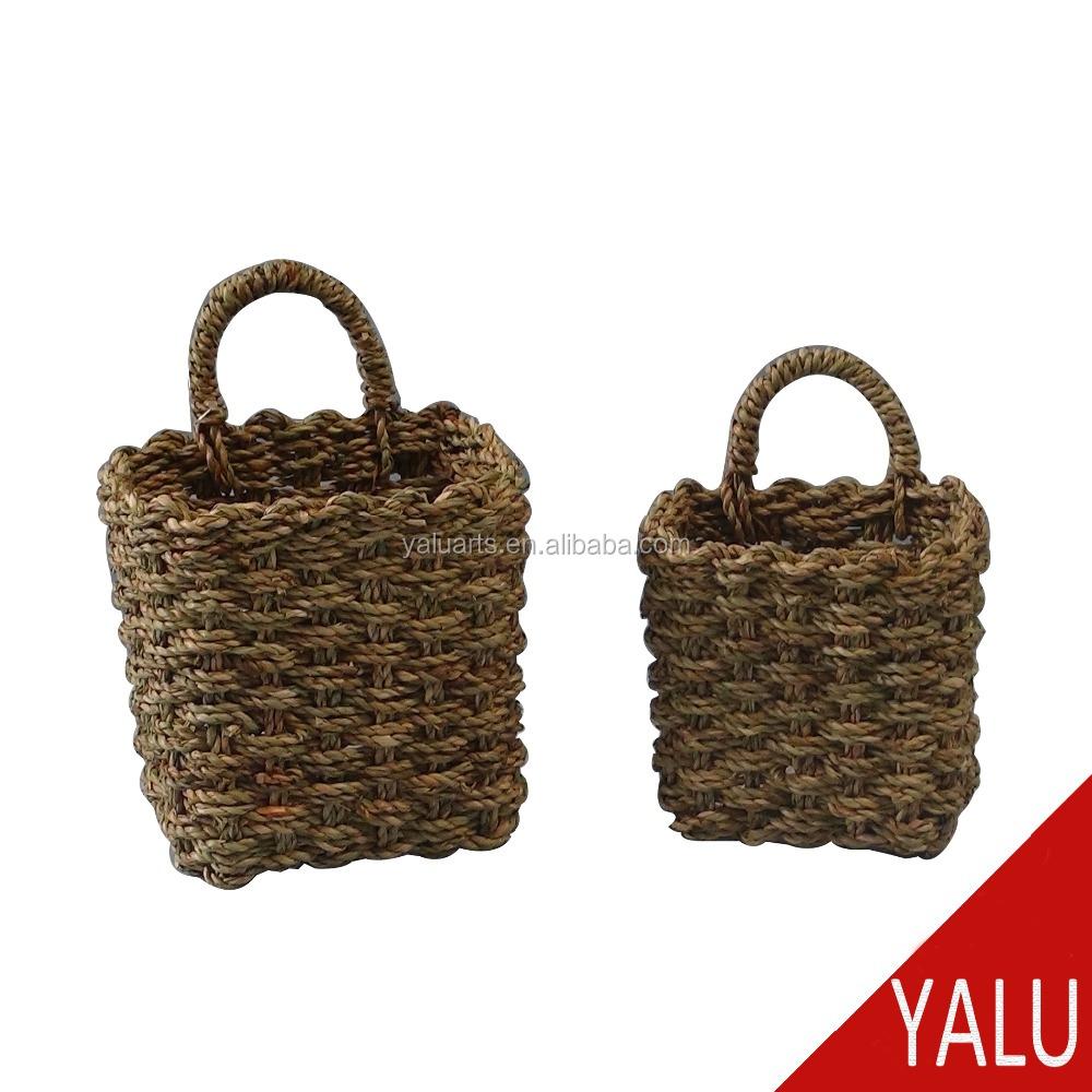 Seagrass Wicker Storage Basket with Handle Shopping Basket Wall Basket Semi-Circular Made of Willow Handmade Woven Hanging Basket Hanging Planter Basket for Home Garden Wedding Wall Decor