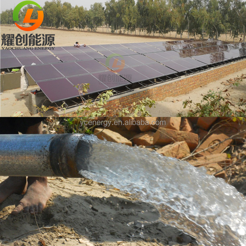 Solar photovoltaic drip irrigation system with solar deep well water pump for agriculture