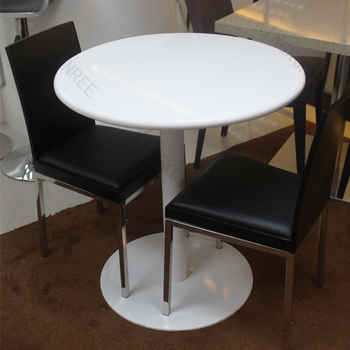 Pure White Solid Surface Round Stone Table Top