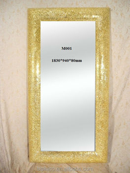 New ornate frame floor standing mosaic mirror in fashion for Gold frame floor mirror