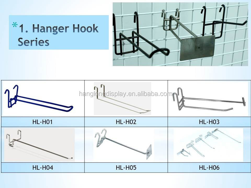 Supermarket wire mesh hanging hook for grid wall panel