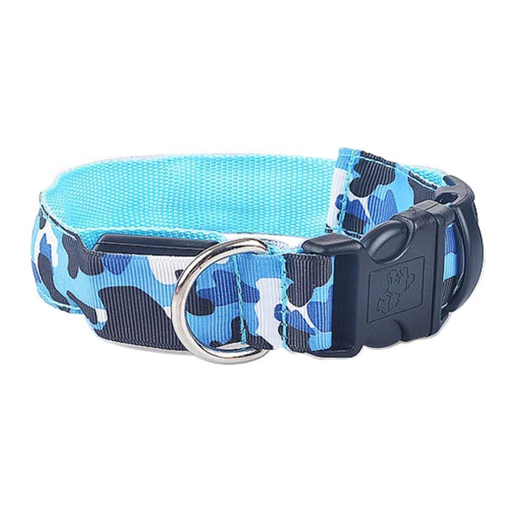 Da.Wa Dog Leash Classic Pattern camouflage Nylon Dog Collar, 5 Colors, Matching Collar LED,M/L/XL