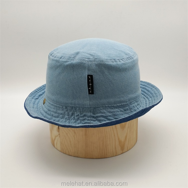 63577cb5535 Wholesale Custom Double Sided Sun Shade Plain Blank Denim Jeans Bucket Hats