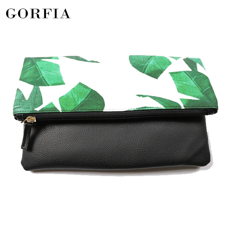 Convenient simple leaf pattern pu leather small coin ladies purse wallet