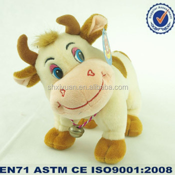 Kids White Small Plush Cow Toys With Bell